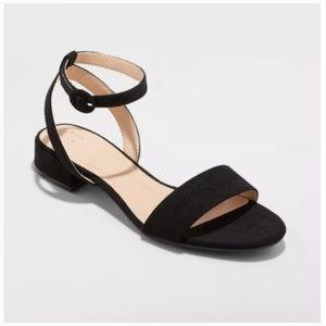 Black Faux Suede Winona Ankle Strap Sandals